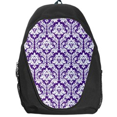 Royal Purple Damask Pattern Backpack Bag