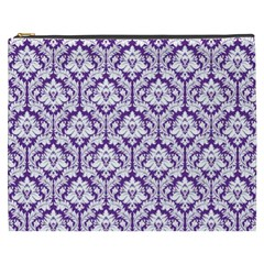 Royal Purple Damask Pattern Cosmetic Bag (xxxl)