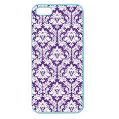 White On Purple Damask Apple Seamless Iphone 5 Case (color)
