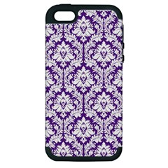 White on Purple Damask Apple iPhone 5 Hardshell Case (PC+Silicone)