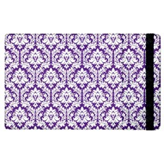 White On Purple Damask Apple Ipad 3/4 Flip Case