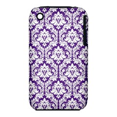 White On Purple Damask Apple Iphone 3g/3gs Hardshell Case (pc+silicone)
