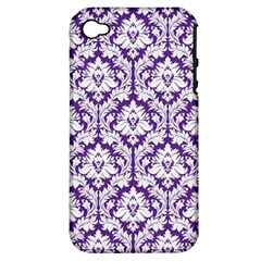 White on Purple Damask Apple iPhone 4/4S Hardshell Case (PC+Silicone)