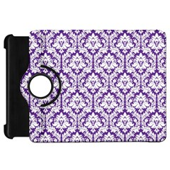 White On Purple Damask Kindle Fire Hd 7  (1st Gen) Flip 360 Case
