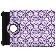 White on Purple Damask Kindle Fire HD 7  (1st Gen) Flip 360 Case