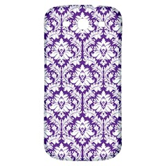 White on Purple Damask Samsung Galaxy S3 S III Classic Hardshell Back Case