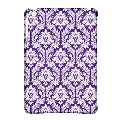 White on Purple Damask Apple iPad Mini Hardshell Case (Compatible with Smart Cover)