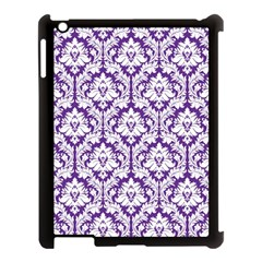 White on Purple Damask Apple iPad 3/4 Case (Black)