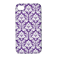 White On Purple Damask Apple Iphone 4/4s Hardshell Case With Stand