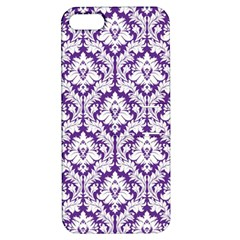 White on Purple Damask Apple iPhone 5 Hardshell Case with Stand