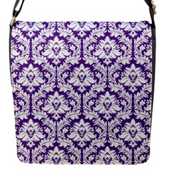 Royal Purple Damask Pattern Flap Closure Messenger Bag (s)