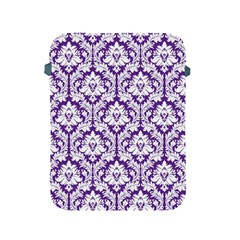 White on Purple Damask Apple iPad Protective Sleeve