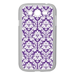 White On Purple Damask Samsung Galaxy Grand Duos I9082 Case (white)
