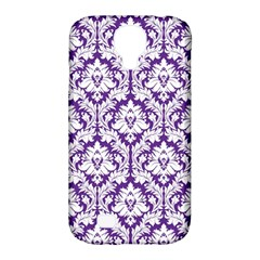 White on Purple Damask Samsung Galaxy S4 Classic Hardshell Case (PC+Silicone)