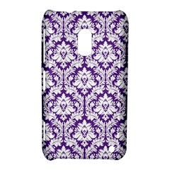 White on Purple Damask Nokia Lumia 620 Hardshell Case
