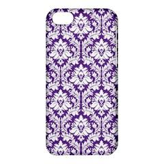 White On Purple Damask Apple Iphone 5c Hardshell Case