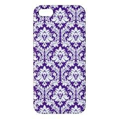 White On Purple Damask Iphone 5s Premium Hardshell Case