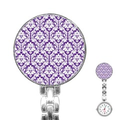 White On Purple Damask Stainless Steel Nurses Watch