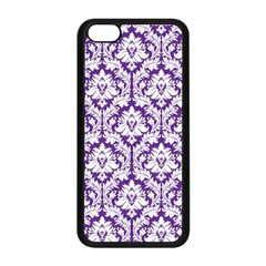 White on Purple Damask Apple iPhone 5C Seamless Case (Black)