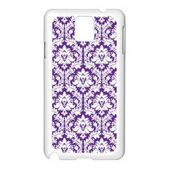 White On Purple Damask Samsung Galaxy Note 3 N9005 Case (white)