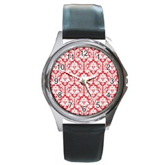 White On Red Damask Round Leather Watch (Silver Rim)