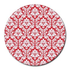 White On Red Damask 8  Mouse Pad (round)