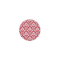 White On Red Damask 1  Mini Button