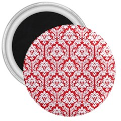 White On Red Damask 3  Button Magnet