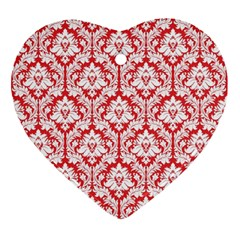 White On Red Damask Heart Ornament