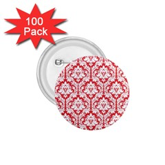 White On Red Damask 1.75  Button (100 pack)
