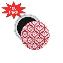 White On Red Damask 1.75  Button Magnet (100 pack)