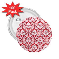 White On Red Damask 2.25  Button (100 pack)