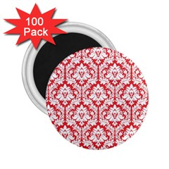 White On Red Damask 2.25  Button Magnet (100 pack)