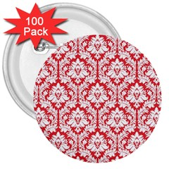 White On Red Damask 3  Button (100 pack)