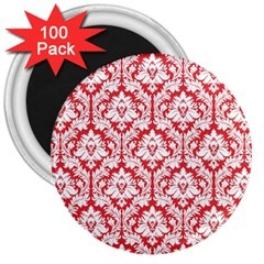 White On Red Damask 3  Button Magnet (100 pack)