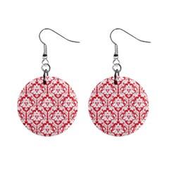 Poppy Red Damask Pattern 1  Button Earrings