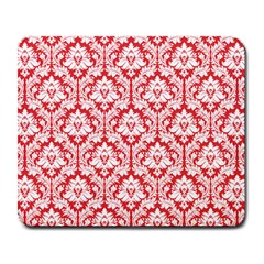 White On Red Damask Large Mouse Pad (Rectangle)