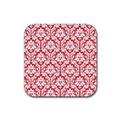 White On Red Damask Drink Coaster (Square)