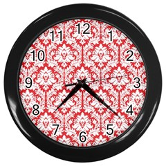 White On Red Damask Wall Clock (Black)