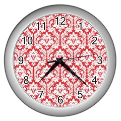 White On Red Damask Wall Clock (Silver)