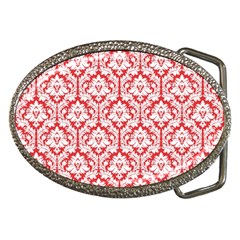 White On Red Damask Belt Buckle (Oval)