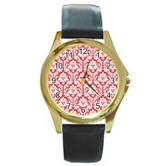 White On Red Damask Round Leather Watch (Gold Rim)