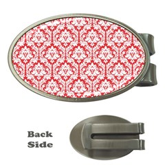 White On Red Damask Money Clip (Oval)
