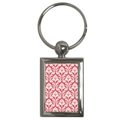 White On Red Damask Key Chain (rectangle)