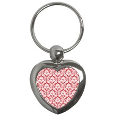 White On Red Damask Key Chain (Heart)