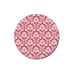 White On Red Damask Drink Coaster (Round)