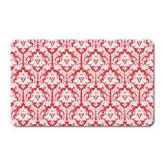 White On Red Damask Magnet (rectangular)