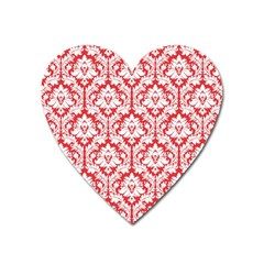 White On Red Damask Magnet (heart)