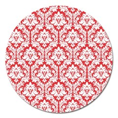 White On Red Damask Magnet 5  (Round)