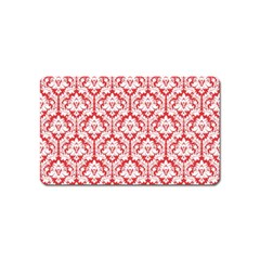White On Red Damask Magnet (Name Card)